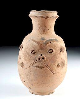 Egyptian Terracotta Figural Flask - God Bes