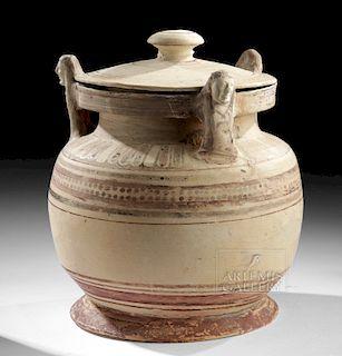 Corinthian Lidded Pyxis w/ Caryatids, ex-Sotheby's