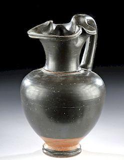 Fine Greek Apulian Glazed Pottery Trefoil Oinochoe