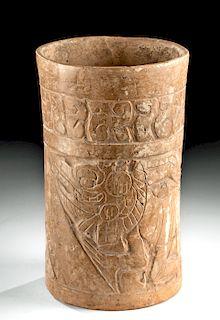 Maya Ceramic Cylinder Vase with Carved Iguanas