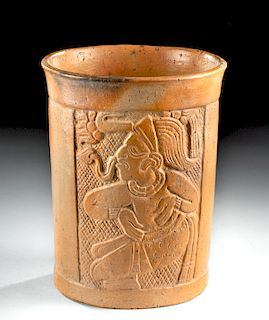Maya Pottery Cylinder Vase with Incised Lord