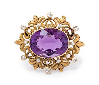 An Art Nouveau 14 Karat Yellow Gold, Amethyst, Diamond and Seed Pearl Brooch,
