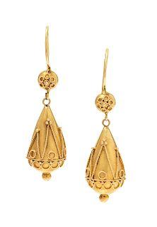 A Pair of Etruscan Revival 15 Karat Yellow Gold Earrings,