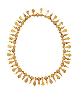 An Etruscan Revival Yellow Gold Fringe Necklace,