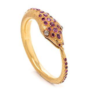 A Victorian Yellow Gold, Ruby, and Diamond Ouroboros Snake Bangle Bracelet,