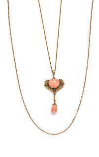 An Art Nouveau 14 Karat Yellow Gold and Coral Pendant Necklace,