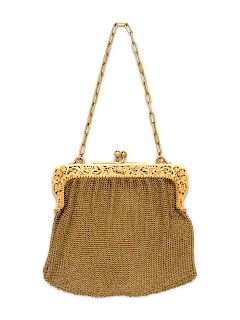 A Belle Epoque 18 Karat Yellow Gold Purse, French,