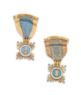 A Pair of 14 Karat Yellow Gold and Polychrome Enamel 'National Society of The Colonial Dames of America' Badges, Bailey Banks and Biddle,