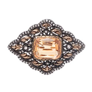 A Silver Topped Yellow Gold, Topaz and Diamond Brooch,