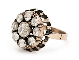 A Yellow Gold and Diamond Ring,
