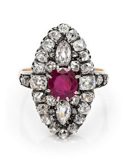 A Silver Topped Yellow Gold, Burmese Ruby and Diamond Ring,