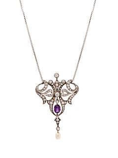 A Silver Topped Yellow Gold, Amethyst, Diamond and Cultured Pearl Pendant/Necklace,