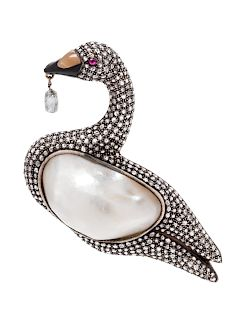 A Silver Topped Yellow Gold, Baroque Pearl, Diamond, Ruby, and Hardstone Swan Brooch,