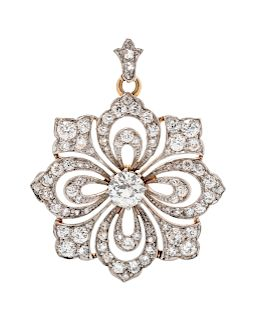 An Edwardian Platinum Topped Yellow Gold and Diamond Pendant/Brooch, Tiffany & Co.,