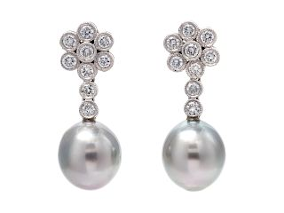 A Pair of White Gold, Cultured Tahitian Pearl and Diamond Earrings,