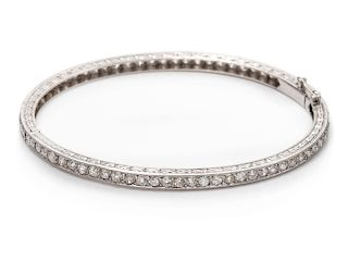 A Belle Epoque Platinum and Diamond Bangle Bracelet, French,