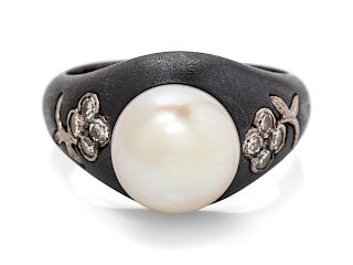 An Art Moderne Blackened Steel, White Gold, Cultured Pearl and Diamond Ring, Marsh & Co.,