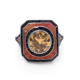 A Platinum, Fancy Colored Diamond, Coral and Onyx Ring,