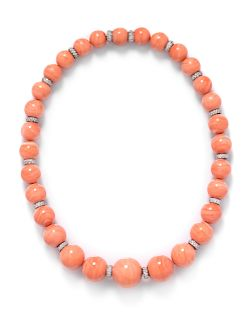 A White Gold, Diamond and Coral Bead Necklace,