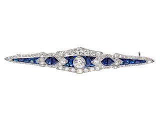 An Art Deco Platinum, Diamond and Sapphire Bar Brooch,