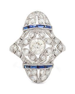 An Art Deco Platinum, Diamond and Sapphire Ring,