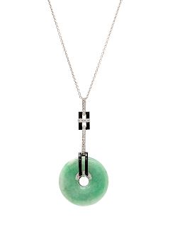 An 18 Karat White Gold, Jade, Diamond and Onyx Pendant/Necklace,