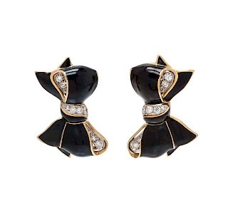 A Pair of Bicolor Gold, Diamond and Enamel Bow Earrings, Verdura,