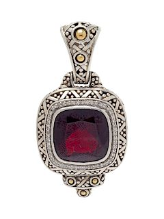 A Sterling Silver, 18 Karat Yellow Gold, Garnet and Diamond 'Batu Sari' Pendant, John Hardy,