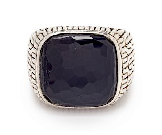 A Sterling Silver and Onyx 'Classic Chain' Ring, John Hardy,