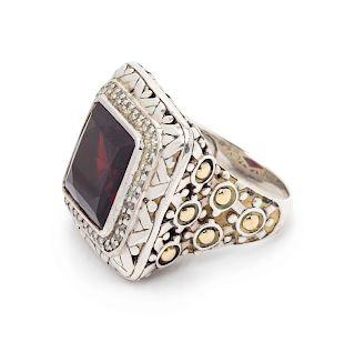 A Sterling Silver, 18 Karat Yellow Gold, Garnet and Diamond 'Batu Sari' Ring, John Hardy,