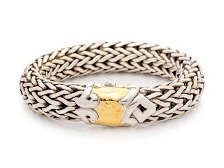 A Sterling Silver and 22 Karat Yellow Gold 'Classic Chain' Bracelet, John Hardy,