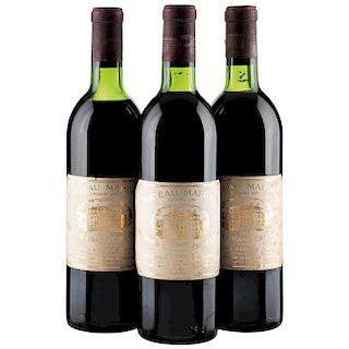 Château Margaux. Cosecha 1973. Grand Vin. Premier Grand Cru Classé. Margaux. Nivel: 2 en el cuello y 1 en la punta del hombro. 3 pz