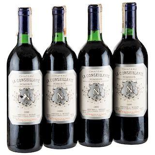 Château La Conseillante. Cosecha 1990. Pomerol. Niveles: una llenado alto y tres en el cuello. Piezas: 4.