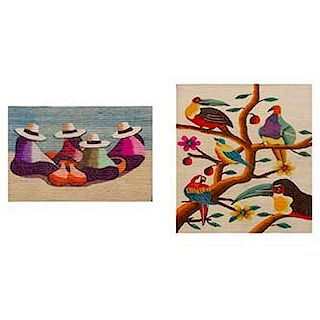 Lote de 2 tapices. Ecuador. SXX. Elaborados en fibras de lana. Dimensiones: 110 x 90 cm. (mayor)