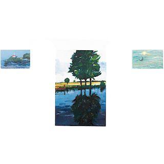 Lote de 3 obras pictóricas. Franz. Paisaje con árboles, Paisaje con faro y Paisaje con gaviota. Firmadas y fechadas '19. Sin enmarcar.
