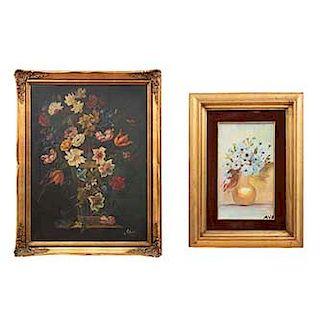 Lote de 2 obras pictóricas. Consta de: Alicia y Ava. Bouquets. Firmados. Óleo sobre tela. Enmarcados. 78 x 58 cm.