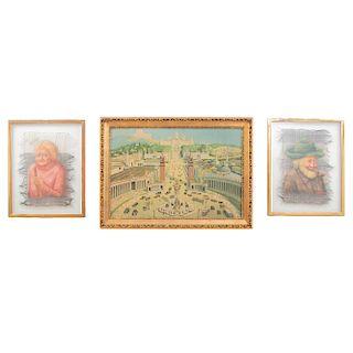 Lote de 3 obras pictóricas. Consta de: a) Anónimo. Paisaje citadino. b) Anónimo. Retrato. c) Firma sin identificar. Retrato. 54 x 78 cm