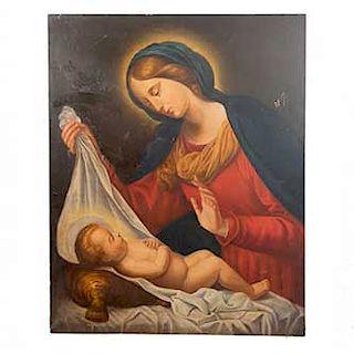 Anónimo. Virgen y niño. Óleo sobre tela Sin enmarcar. Dimensiones: 100 x 82 cm.