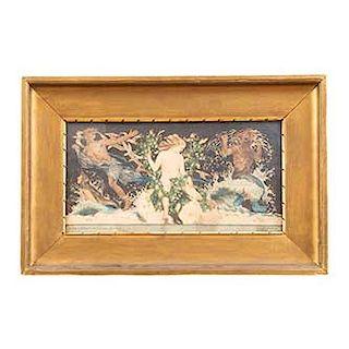 """Münrer Aunlán. """"Falikep a stuttgartti udvari szinház foyer-ában"""". Firmado y fechado 1917. Tinta sobre papel. Enmarcado. 21 x 40 cm."""