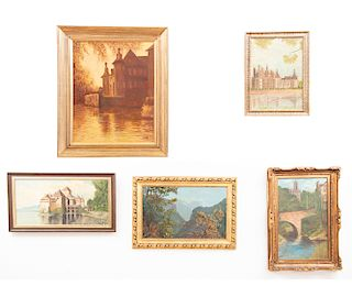 Lote de 5 obras pictóricas. Óleo sobre tela. Consta de: a) Solh. Paisaje montañoso. b) Solh. Paisaje arquitectónico. Entre otros.