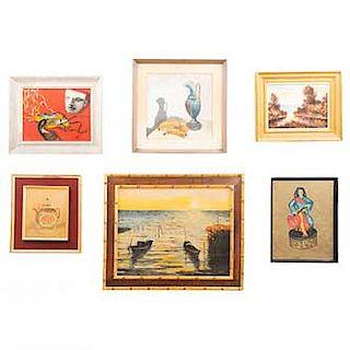 Lote 6 obras pictóricas. Consta de: a) Solh. Lago y botes. Fb) Erica. Bailarina. c) Solh. Tetera. Entre otros. 54 x 69 cm, (mayor)