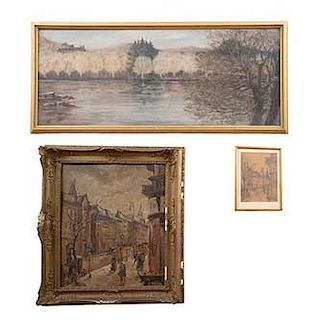 Lote de 3 obras pictóricas. Consta de: a) Firmado R. Paisaje. b) Schezber. Paisaje citadino. c) Scheiber. Paisaje citadino. 40 x 100 cm