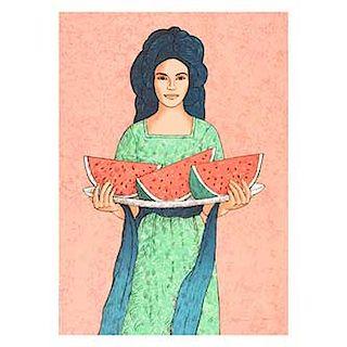 Antonio Galván Duque. Mujer con sandías. Serigrafía P/A. Sin enmarcar. 68 x 87 cm.