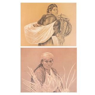 Lote de 2 litografías. Michaela Treitz. Retratos de mujeres indígenas. Firmadas. Sin enmarcar. 46 x 59 cm.