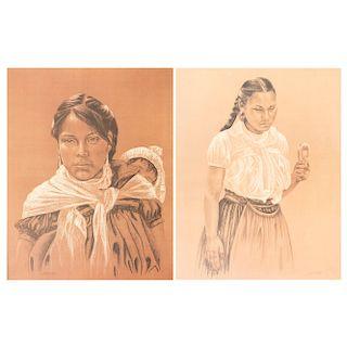 Lote de 2 litografías. Michaela Treitz. Retratos de mujeres indígenas. Firmadas. Sin enmarcar. 59 x 46 cm.