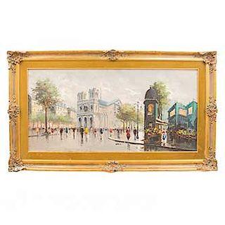 Anónimo. Paisaje parisino. Óleo sobre tela. Enmarcado en madera dorada. Dimensiones: 58 x 117 cm.