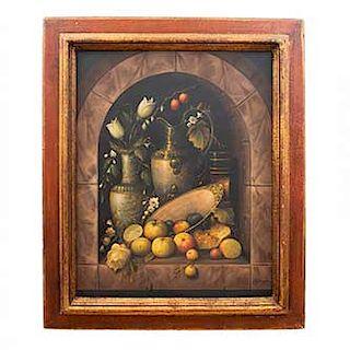 Firma sin identificar. Bodegón. Firmado en el ángulo inferior derecho. Óleo sobre tela Enmarcado. 96 x 76 cm.