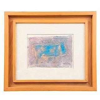 Miguel Cubiles. Animal. Firmada en el ángulo inferior derecho. Mixta sobre tela. Enmarcado. Dimensiones: 19 x 27 cm.