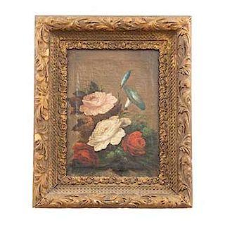 Anónimo. Bouquet. Óleo sobre tela. Enmarcado en madera dorada. Dimensiones: 31 x 23 cm.