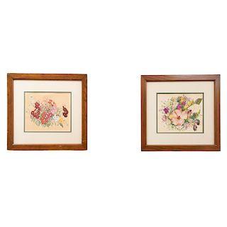 Lote de 2 obras pictóricas. Vita Castro. Bouquets. Uno firmado y fechado 1955. Tinta sobre papel. 20 x 27 cm.